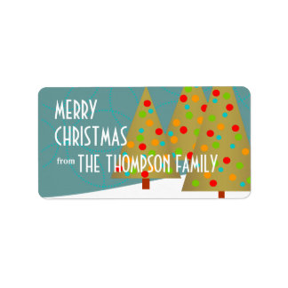 Fun Christmas Tree Trio Holiday Party Invitation Label