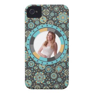 Fun Circle frame - Masculine Mustard on pattern iPhone 4 Case