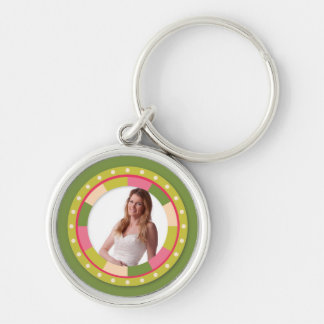 Fun Circle frame - pink leaf on green Silver-Colored Round Key Ring