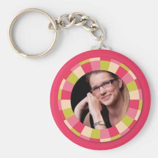 Fun Circle frame - pink leaf on hot pink Keychains