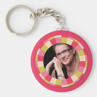 Fun Circle frame - pink leaf on hot pink Keychains