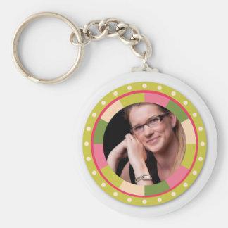 Fun Circle frame - pink leaf on light Basic Round Button Key Ring
