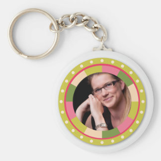 Fun Circle frame - pink leaf on light Key Chain
