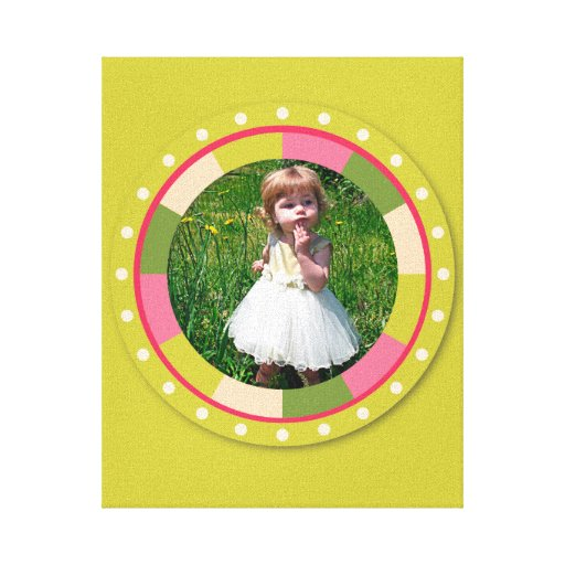 Fun Circle frame - pink leaf on lime Gallery Wrap Canvas