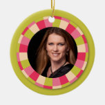 Fun Circle frame - pink leaf on lime Christmas Ornaments