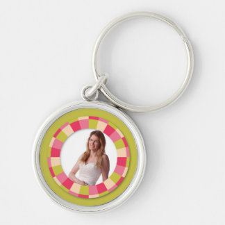 Fun Circle frame - pink leaf on lime Keychains