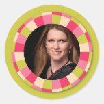 Fun Circle frame - pink leaf on lime Round Sticker