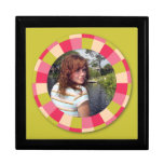 Fun Circle frame - pink leaf on lime Trinket Box
