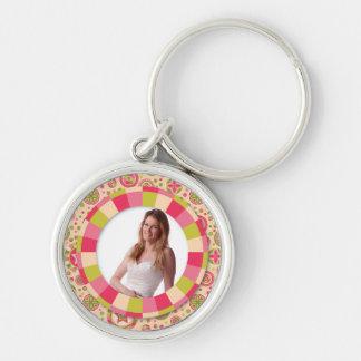 Fun Circle frame - pink leaf on pattern Keychains