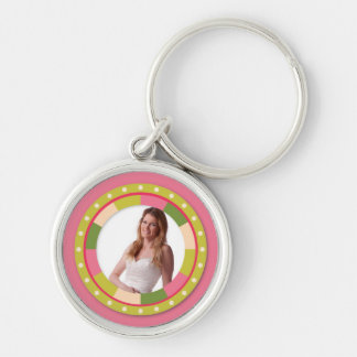 Fun Circle frame - pink leaf on pink Keychains