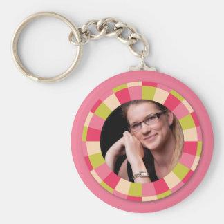 Fun Circle frame - pink leaf on pink Key Chains