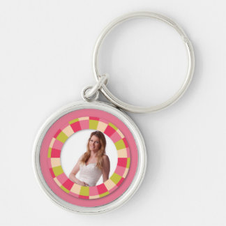 Fun Circle frame - pink leaf on pink Silver-Colored Round Key Ring