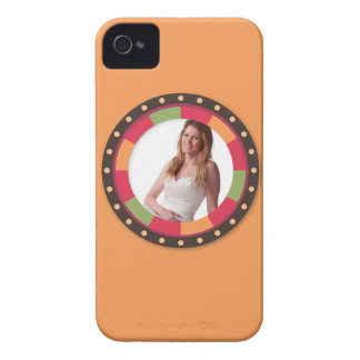 Fun Circle frame - sunset leaf on orange iPhone 4 Covers