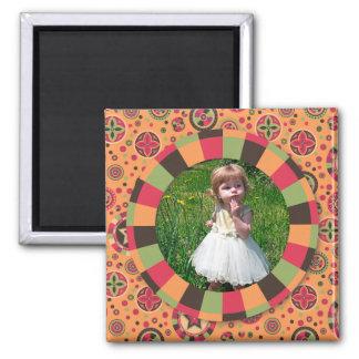 Fun Circle frame - sunset leaf on pattern Square Magnet