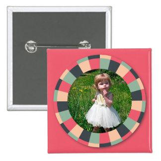 Fun Circle frame - vintage candy - hot pink 15 Cm Square Badge