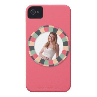 Fun Circle frame - vintage candy - hot pink iPhone 4 Case