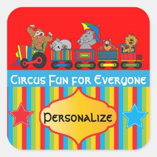 Fun Circus Animal Theme Square Stickers