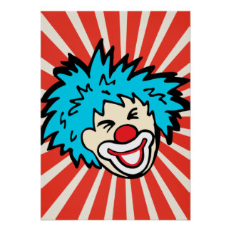 Fun circus clown bright graphic poster