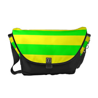 Fun Citrus Yellow and Neon Green Striped Pattern Courier Bags