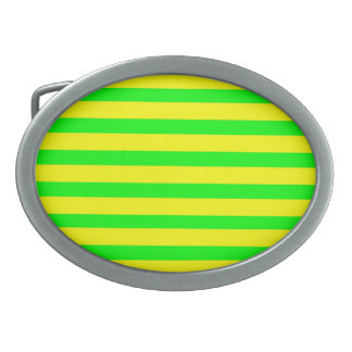Fun Citrus Yellow and Neon Green Striped Pattern Oval Belt Buckle