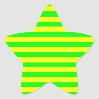 Fun Citrus Yellow and Neon Green Striped Pattern Star Sticker