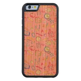 Fun Classroom Icons on Pink Carved® Cherry iPhone 6 Bumper