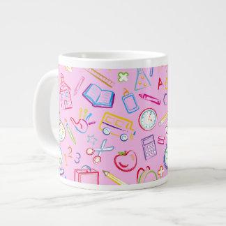 Fun Classroom Icons on Pink Giant Coffee Mug
