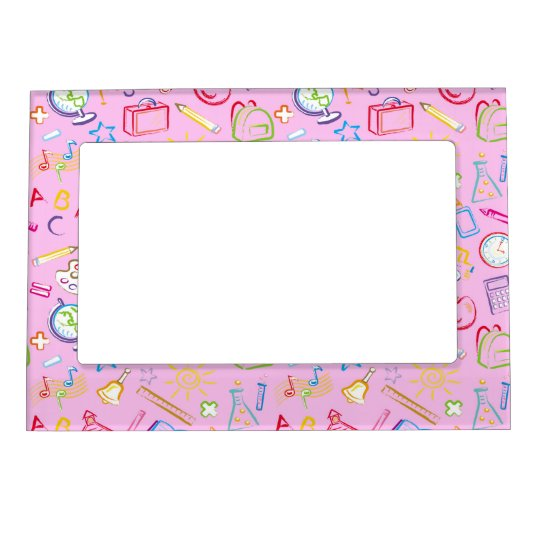 Fun Classroom Icons on Pink Magnetic Picture Frame