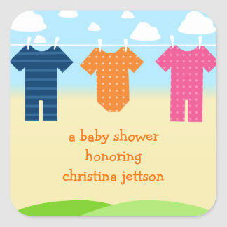 Fun Clothes on Line Baby Shower Favour Stickers