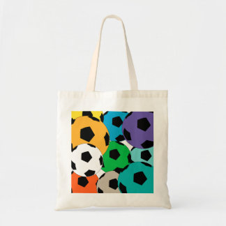 Fun clourful cluster of soccer balls tote bag