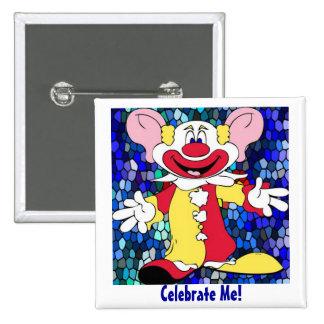 Fun Clown 15 Cm Square Badge