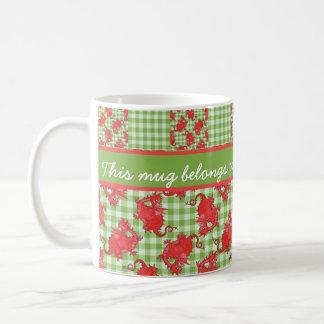 Fun Coffee Mug to Personalize: Cute Red Dragons