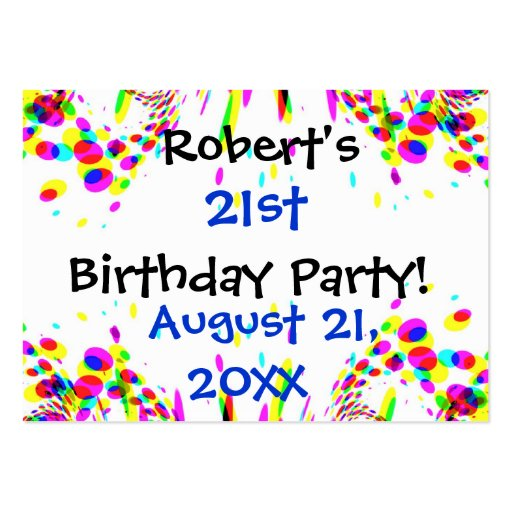 Fun Colorful 21st Or Any Age Birthday Party Card Business Card Templates