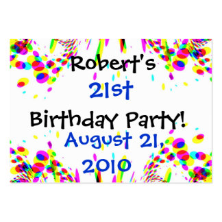 Fun Colorful 21st Party! Card Large Business Cards (Pack Of 100)