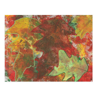Fun Colorful Abstract Autumn Oak Leaves Postcards