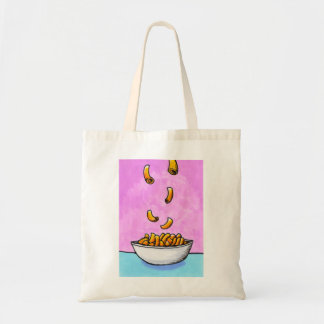 Fun colorful art mac and cheese comfort food canvas bags