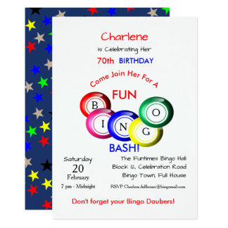 Fun Colorful Bingo Bash Theme Party Invite