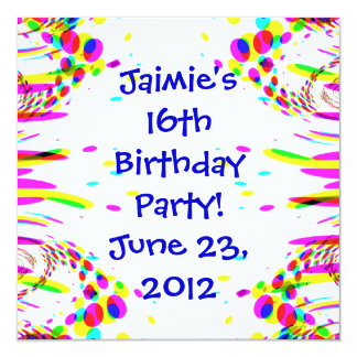 Fun Colorful Birthday Party! Invitation