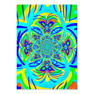 Fun Colorful Butterfly Flower Abstract Fractal Art 13 Cm X 18 Cm Invitation Card