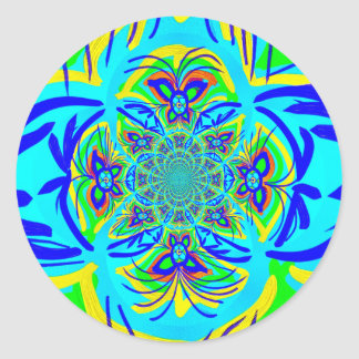 Fun Colorful Butterfly Flower Abstract Fractal Art Round Stickers