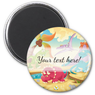Fun Colorful Cartoon Dinosaurs 6 Cm Round Magnet