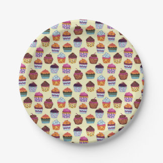 Fun Colorful Cupcakes Illustration Pattern Paper Plate
