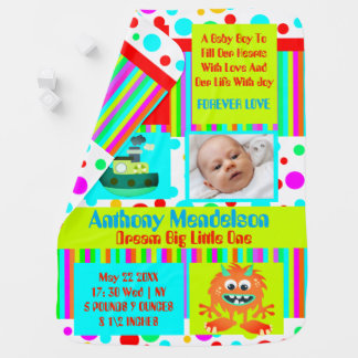 Fun colorful custom baby birth announcement receiving blankets
