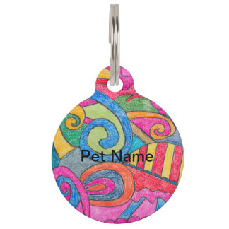 Fun Colorful Design Pet Tag