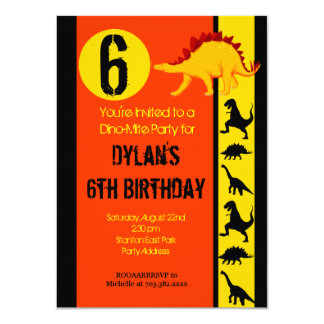 "Fun Colorful Dinosaur Birthday Party Invitations 4.5"" X 6.25"" Invitation Card"