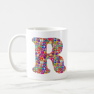 Fun Colorful Dynamic Heart Filled R Monogram Coffee Mug