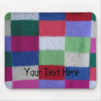 fun colorful faux knitted retro patchwork mouse pad