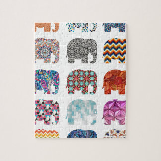 fun colorful funky elephant design jigsaw puzzle