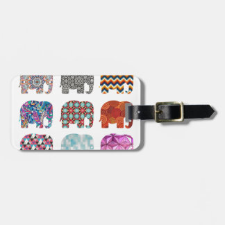 fun colorful funky elephant design luggage tag