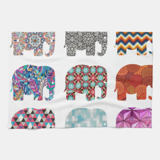 fun colorful funky elephant design tea towel